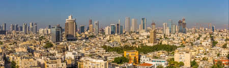 aviv: TEL AVIV, ISRAEL - JUNE 18, 2015: Aerial panoramic view of the city buildings and private houses.