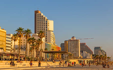 TEL AVIV, ISRAEL - JUNE 18, 2015: Panorama of the beach, riviera, hotels and long promenade along skyline shot from the marine.