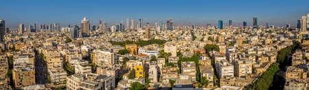 TEL AVIV, ISRAEL - JUNE 18, 2015: Aerial panoramic view of the city buildings and private houses.