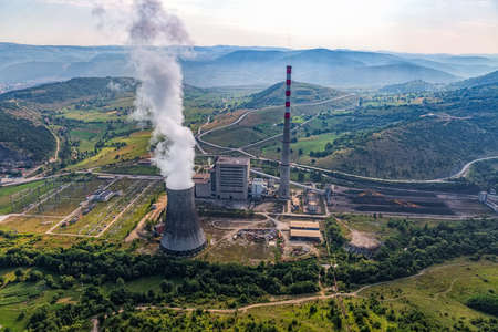 earth pollution: Helicopter shoot of the thermal power plant Pljevlja, only coal-fired power station in Montenegro. Stock Photo