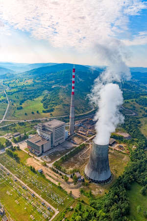 thermal pollution: Helicopter shoot of the thermal power plant Pljevlja, only coal-fired power station in Montenegro. Stock Photo