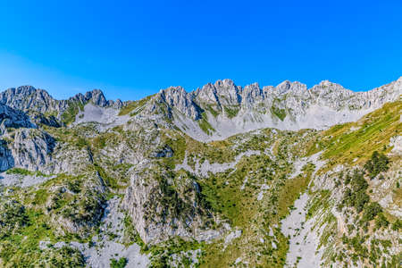 weald: Helicopter aerial photo of the canyon wall in Montenegro continental part and mountain nature.