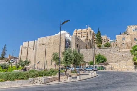 kotel: JERUSALEM, ISRAEL - JUNE 19, 2015: Beautiful stone buildings by the entrance of the Western Wall, Wailing Wall or Kotel.