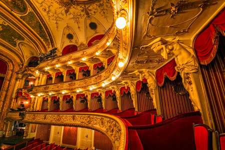 ferdinand: ZAGREB, CROATIA - March 17, 2016: Loggias balcony seats in Croatian National Theatre, a neo-baroque building, a masterpiece of the architects Ferdinand Fellner and Hermann Helmer.