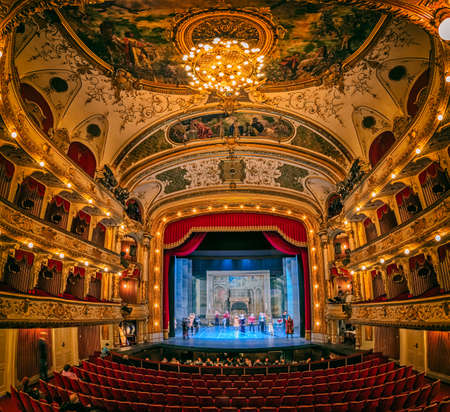 ambience: ZAGREB, CROATIA - March 17, 2016: General rehearsal of the ballet Romeo and Juliet in beautiful ambience of the Croatian National Theatre.