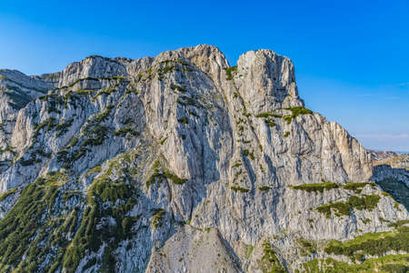 weald: Helicopter aerial photo of the river Tara canyon wall in Montenegro continental part and mountain nature. Stock Photo