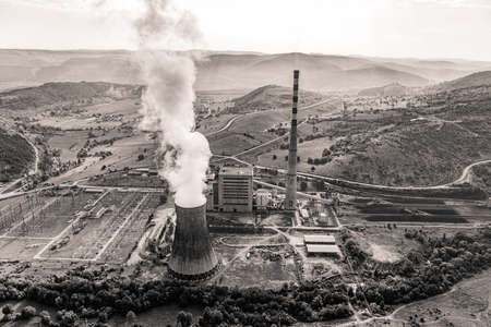 condensing: Helicopter shoot of the thermal power plant Pljevlja, only coal-fired power station in Montenegro. Stock Photo