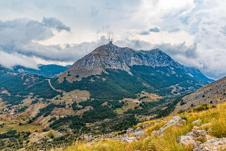 southwestern: Panoramic view of the highest peaks of the Lovcen mountain national park in southwestern Montenegro. Stock Photo