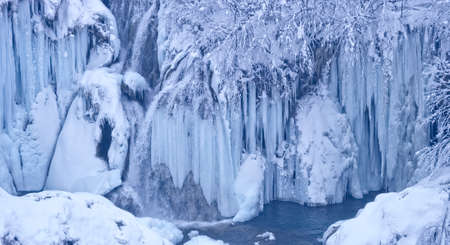 frozen lake: Plitvice lakes frozen waterfalls Stock Photo