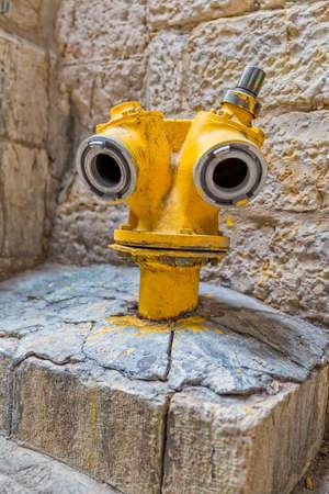Jerusalem yellow hydrant Stock Photo