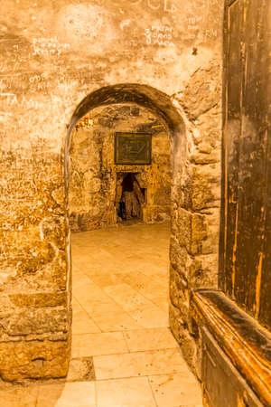 Holy Sepulchre Church dark room Editorial