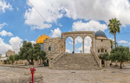 al aqsa: Dome of the Rock stairs Jerusalem Editorial