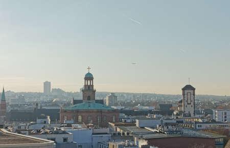 Frankfurt panoramic aerial view in winter morning