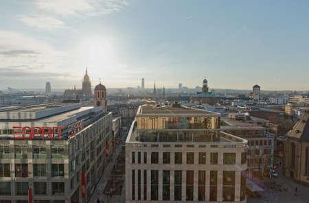 Frankfurt panoramic aerial view in winter morning Фото со стока - 139863766