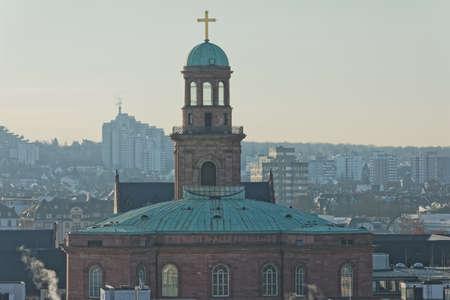 Frankfurt Saint Paul church aerial view in winter morning