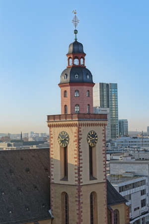 Frankfurt Saint Catherine Protestant Church tower aerial view