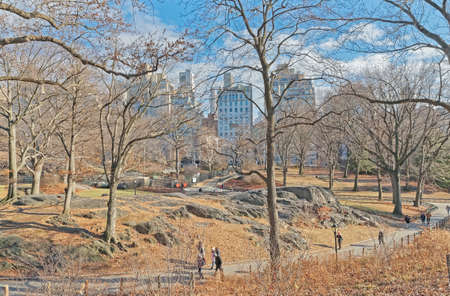 New York Central Park rocks in winter time