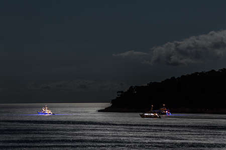 Boats by the night in Dubrovnik waters