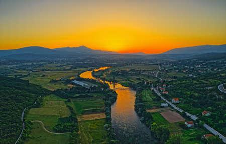 Aerial view of the river Cetina, Croatia