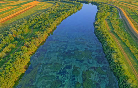 Stream of the river Cetina, Croatia. A beautiful landscape near Sinj, Croatia.