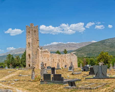 Ruins of early pre-romanesque Church of Holy Salvation and cemetery near small town Vrlika in Cetina village.