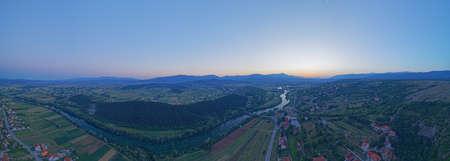 Aerial view of the sunset at river Cetina, Croatia Stok Fotoğraf