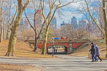 New York Central Park Driprock Arch bridge winter time Editorial