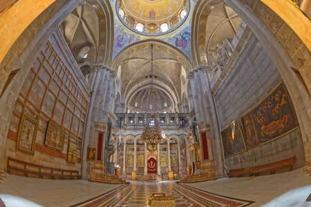 Catholicon Chapel in the Holy Sepulchre Church in Jerusalem fisheye lens shot Editorial
