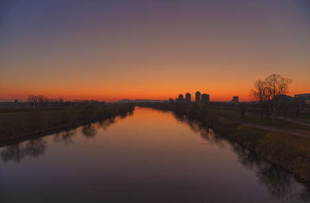 Sunset on the Sava River in Zagreb Stock Photo