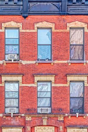 Red brick facade in west side of Manhattan in New York.