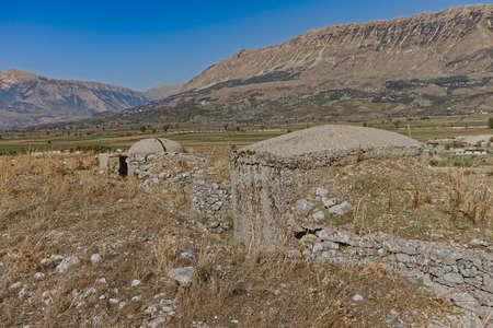Concrete military bunkers built in communist era Albania
