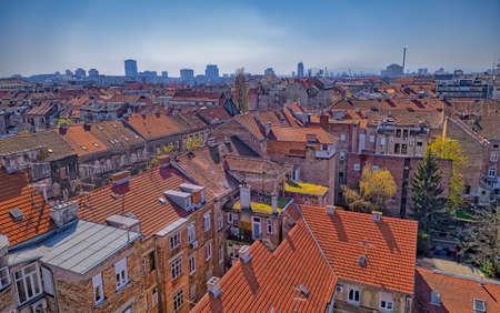 Zagreb city center aerial shot