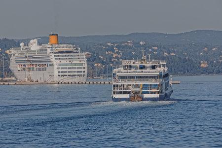 Costa Victoria cruiser anchored in the port of Corfu Greece