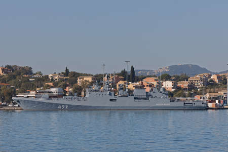 Russian warship anchored in the port of Corfu Greece