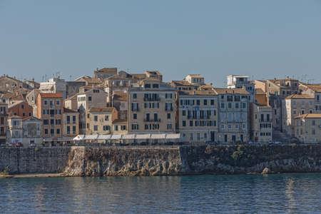 Waterfront promenade by Venetian fortress in Corfu town Greece Publikacyjne