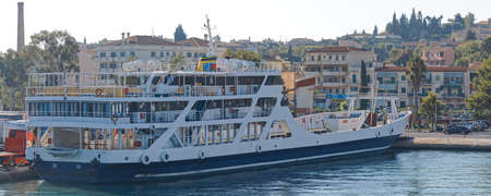 Empty ferry anchored in the port of Corfu Greece