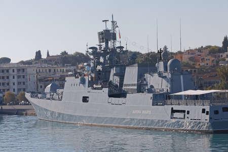 Warship anchored in the port of Corfu Greece Publikacyjne