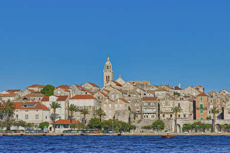 Panoramic shot of the Old medieval town as Korcula center
