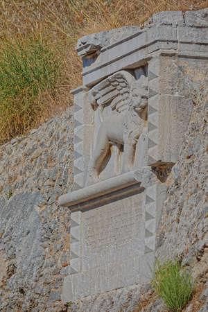 Lion of Saint Mark New fortress wall detail in Corfu Greece Zdjęcie Seryjne