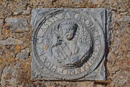 Georgio Grimano relief on New fortress wall in Corfu Greece