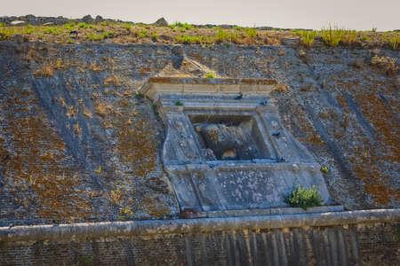 Lion of Saint Mark Old Venetian fortress wall detail in Corfu Greece Zdjęcie Seryjne