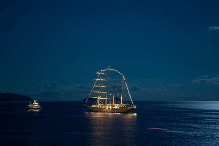 Yachts by the night anchored in Dubrovnik waters