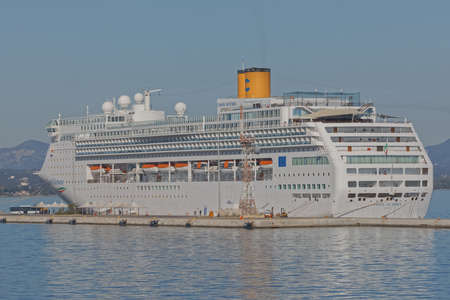 Costa Victoria cruise anchored in the port of Corfu Greece Publikacyjne