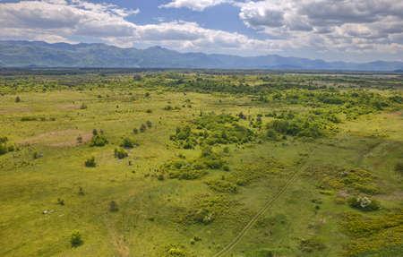 Lika region plateau an aerial view of the Croatian landscape Zdjęcie Seryjne