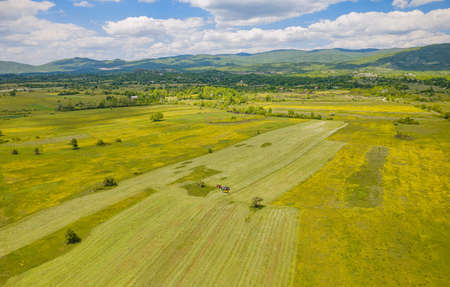 Fields at Lika region plateau, Croatian landscape Zdjęcie Seryjne