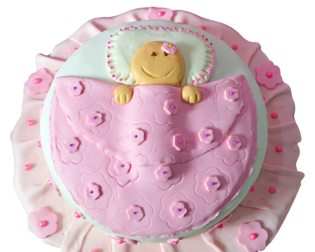 Pastel Baby Shower Cake Bebe Girl Fondant Stock Photo Picture And