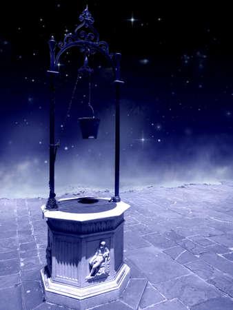Aljibe en Un Patio Al Borde del precipicio en Una Noche estrellada estafa bruma de Fondo Cisterna en un patio en el precipicio en una noche estrellada con el fondo de la niebla Cisterna em um Patio No Precipicio em uma noite Estrelado com fundo névoa
