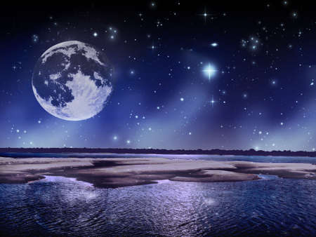 Night landscape filled stars and in the middle of a sand and water park moon