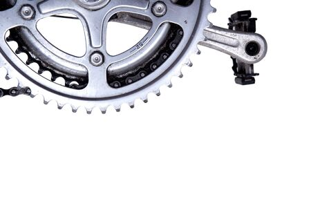 pedals: Bike gear wheel and pedal on white background