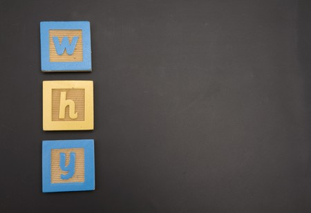 Word written on childs chalkboard with colorful blocks photo